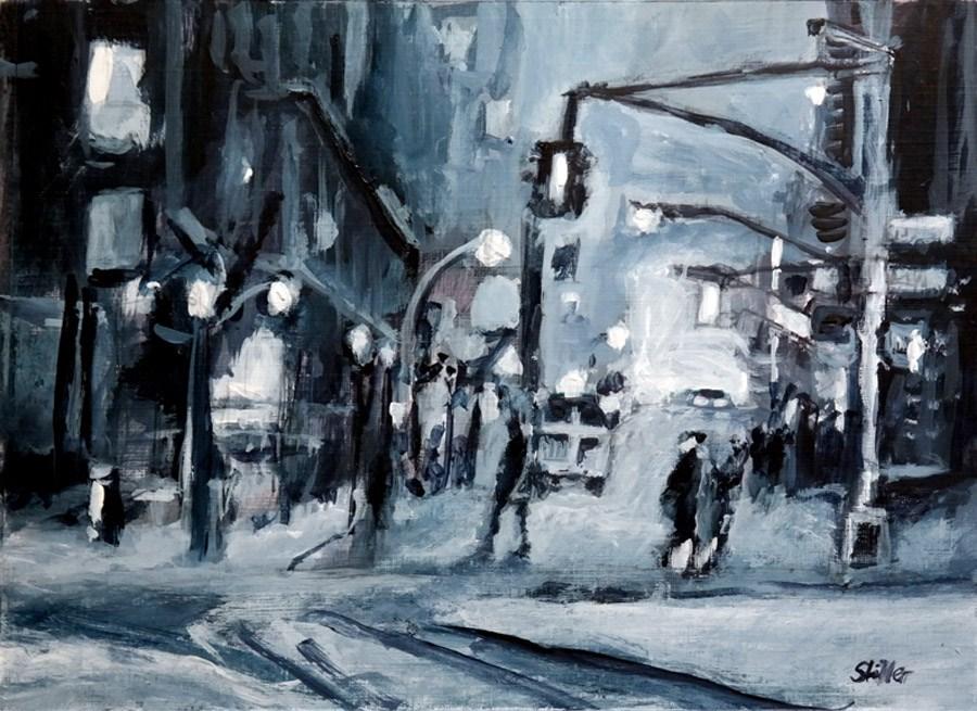 """""""2307 City in the Dark"""" original fine art by Dietmar Stiller"""