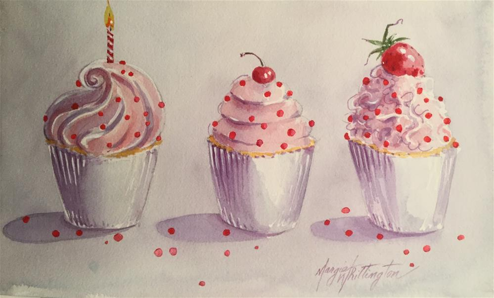 """""""Cupcakes with Red Sprinkles"""" original fine art by Margie Whittington"""