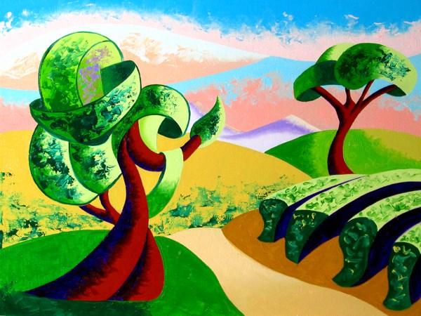 """Mark Adam Webster - Abstract Geometric Tuscan Vineyard Landscape Oil Painting"" original fine art by Mark Webster"