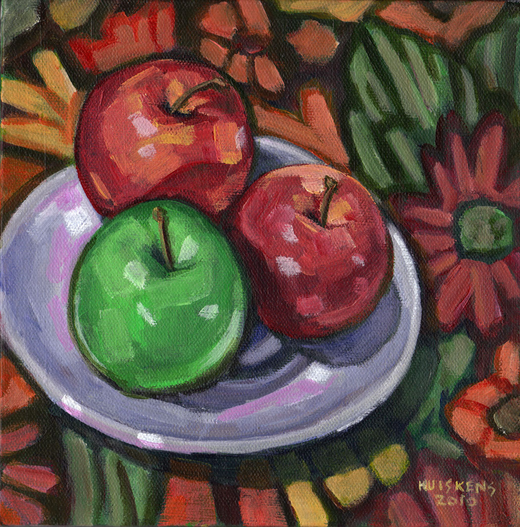 """""""Green And Red Apples No. 4"""" original fine art by Randal Huiskens"""