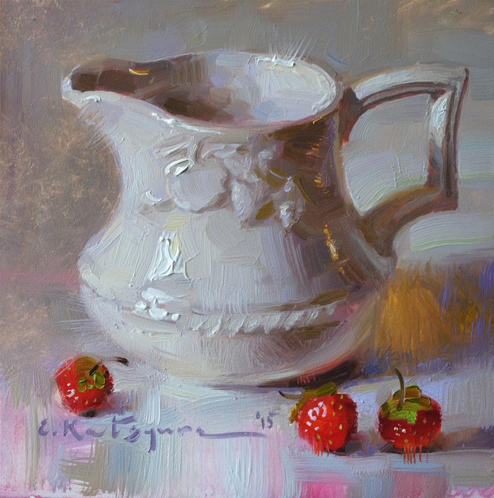 """""""Creamer and Strawberries"""" original fine art by Elena Katsyura"""