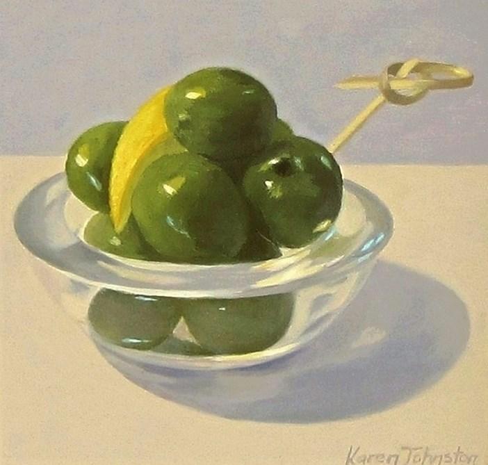 """""""Giant Green Olives"""" original fine art by Karen Johnston"""