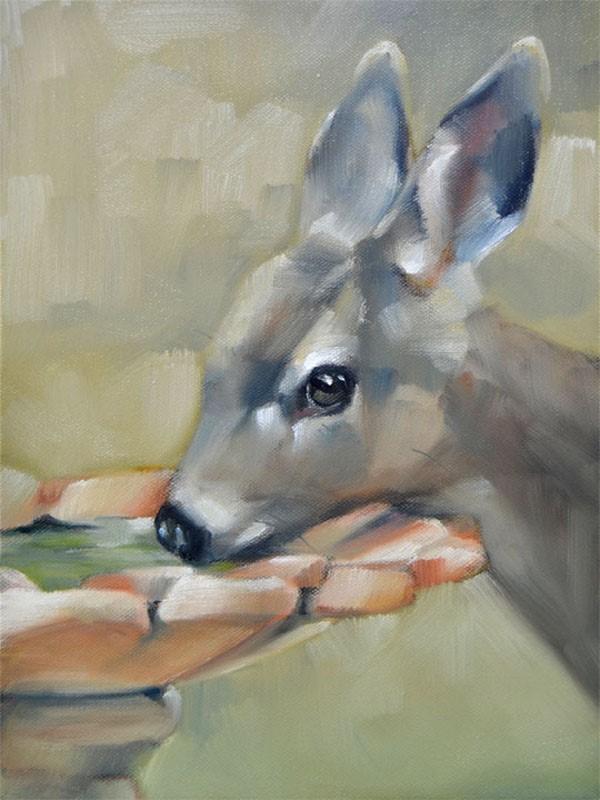 """Drinking Fawn"" original fine art by Cheryl Wilson"