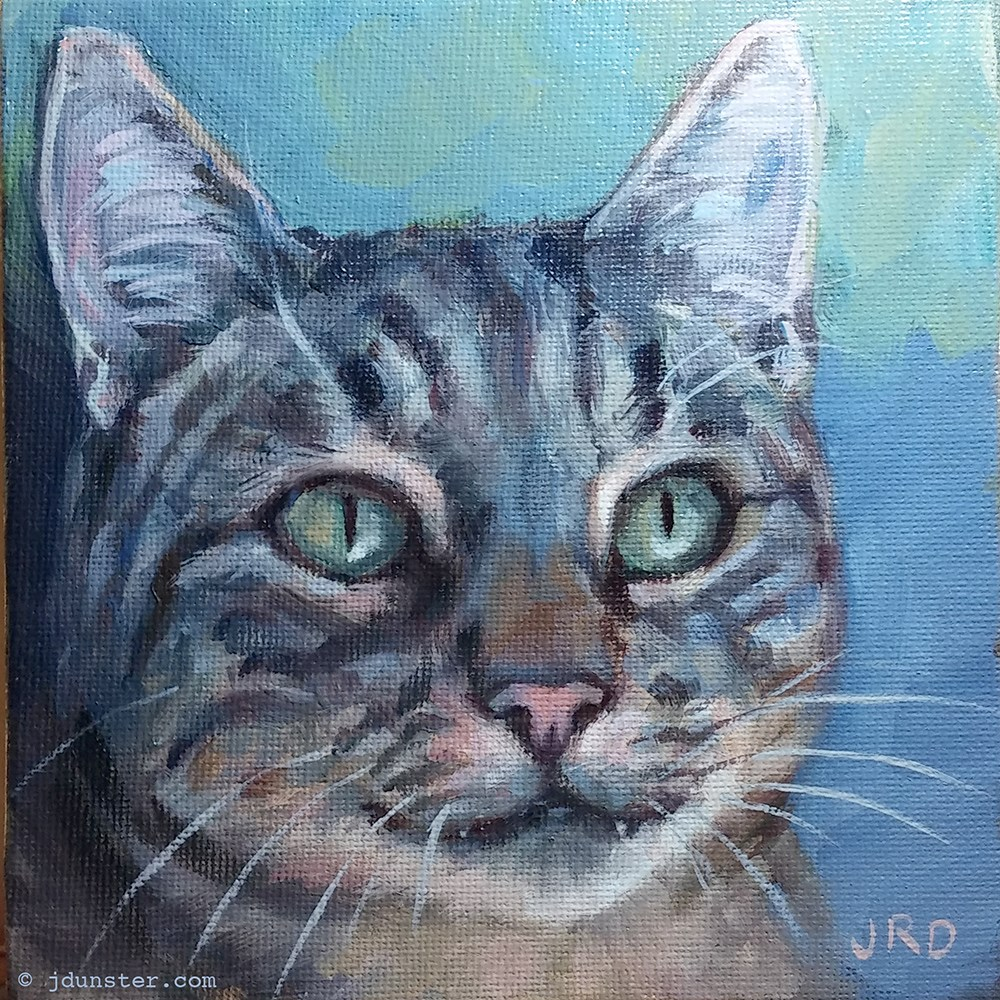 """Tabby in Blues"" original fine art by J. Dunster"
