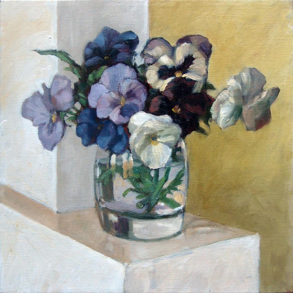 """""""Pansies blue"""" original fine art by Myriam Kin-Yee"""