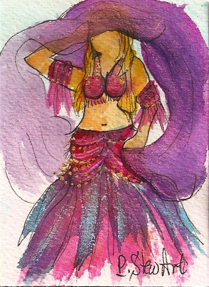 """""""ACEO Belly Dancer #6 Series - Watercolor and Pen, w/Metallic Accents, original"""" original fine art by Penny Lee StewArt"""