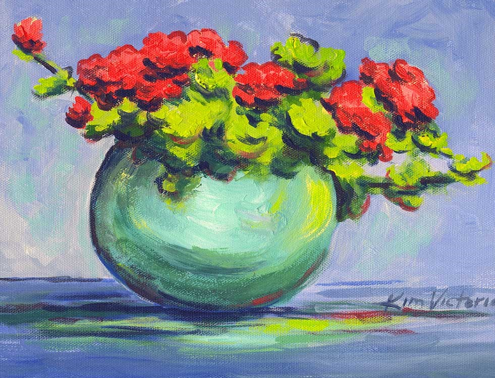 """Bowl of Geraniums"" original fine art by Kim Victoria"
