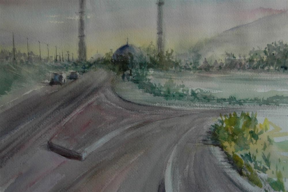 """""""Near Brighton College Al Ain"""" original fine art by Midori Yoshino"""