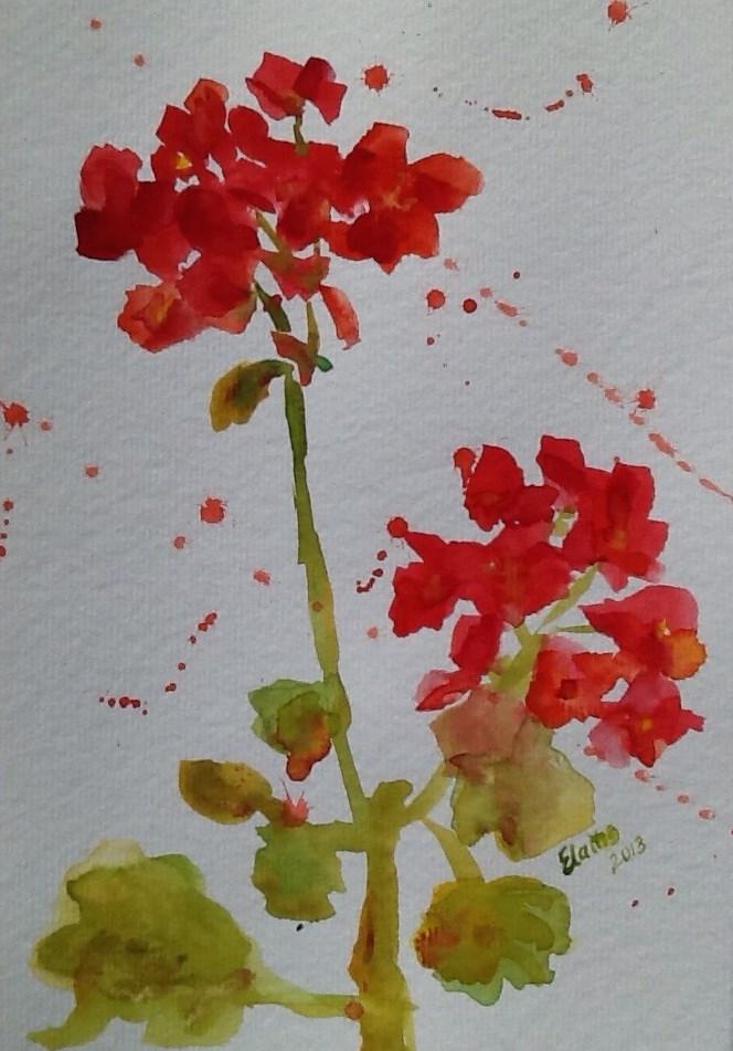"""""""Geranium"""" original fine art by Elaine Ford"""