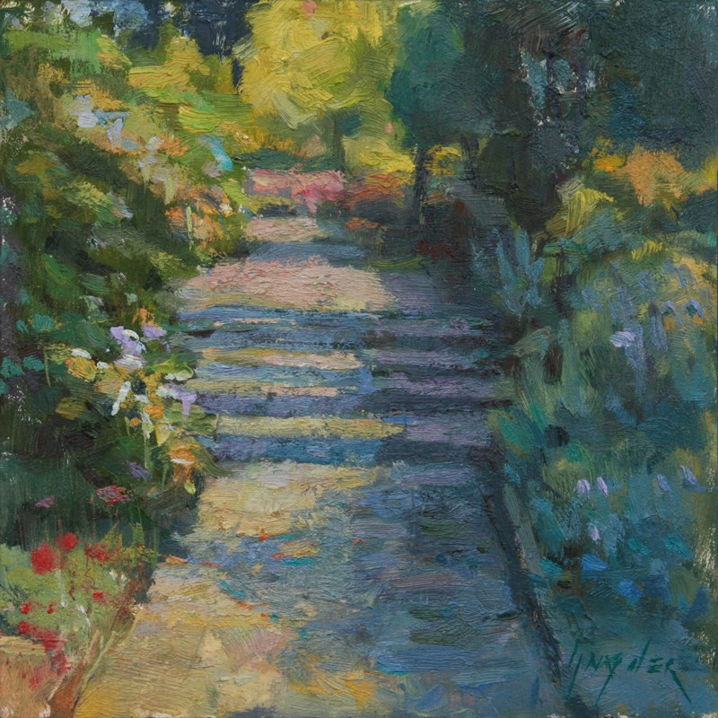 """Thirty paintings in 30 days #6 Terrace Sunshine"" original fine art by Julie Snyder"