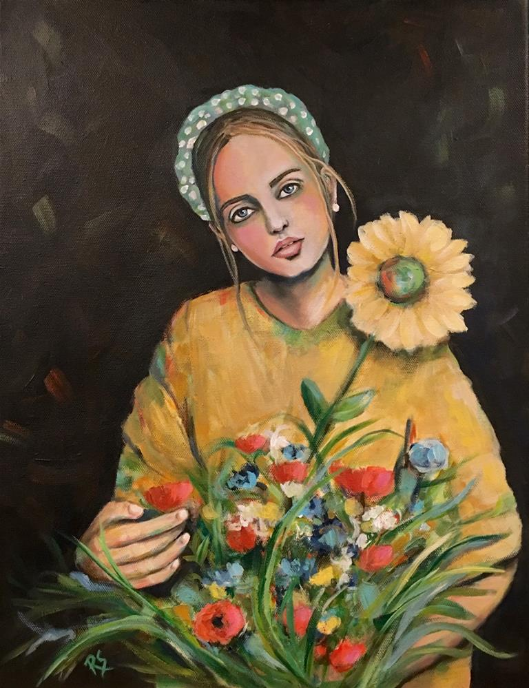 """Girl With a Sunflower"" original fine art by Roberta Schmidt ArtcyLucy"