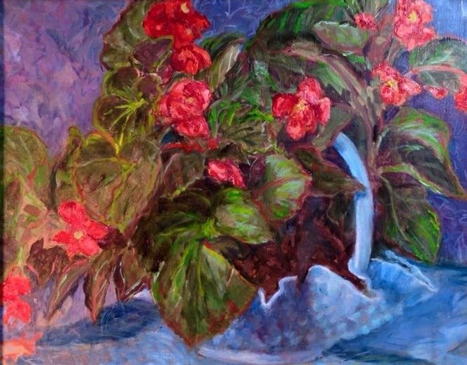 """""""Red Begonias with mothers milk glass"""" original fine art by barbara yongue"""