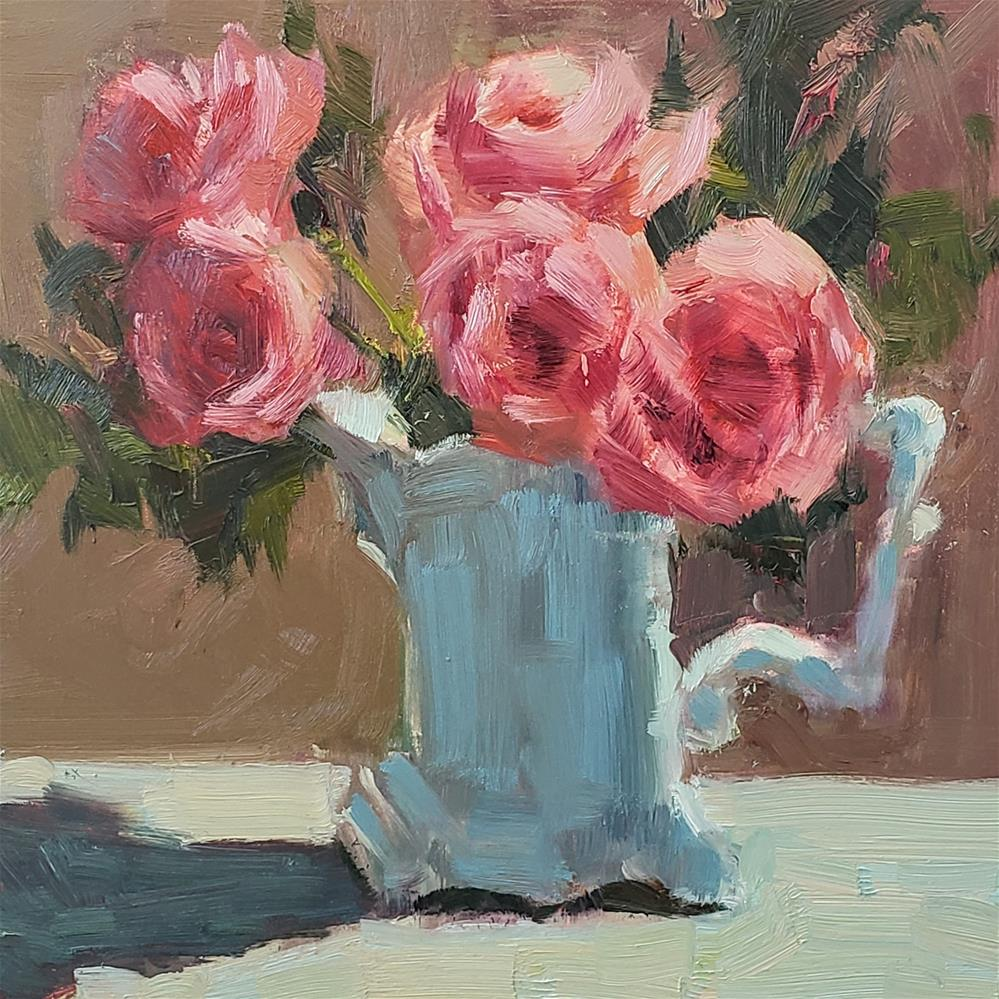 """Pink Roses in White Pitcher"" original fine art by Barbie Smith"