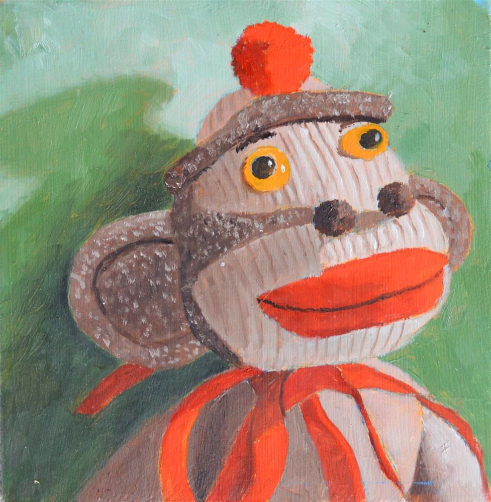 """Sock Monkey"" original fine art by Robert Frankis"