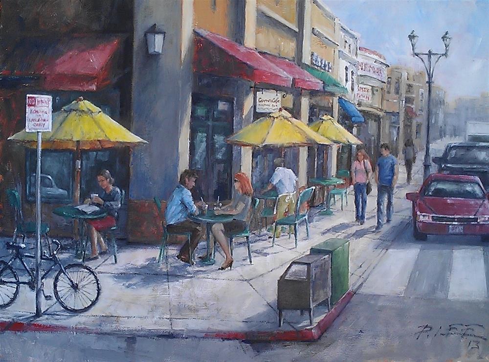 """""""The Corner Cafe"""" original fine art by Peter Lee"""