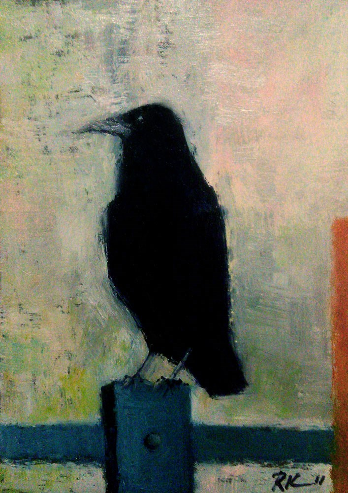 """A Perched Crow"" original fine art by Bob Kimball"