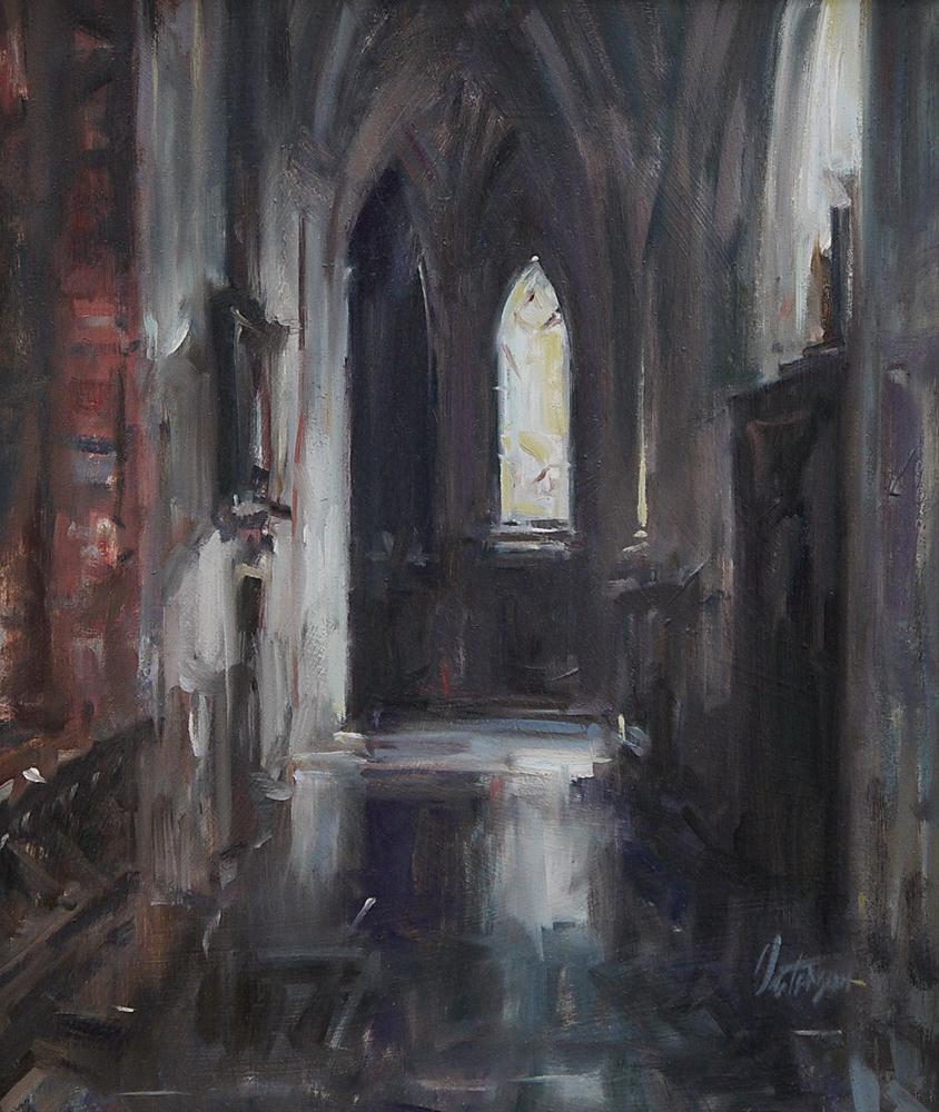 """Church Interior"" original fine art by Mike Peterson"