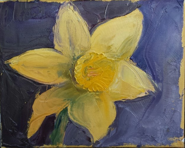 """First Daffodil"" original fine art by Kim Homes"