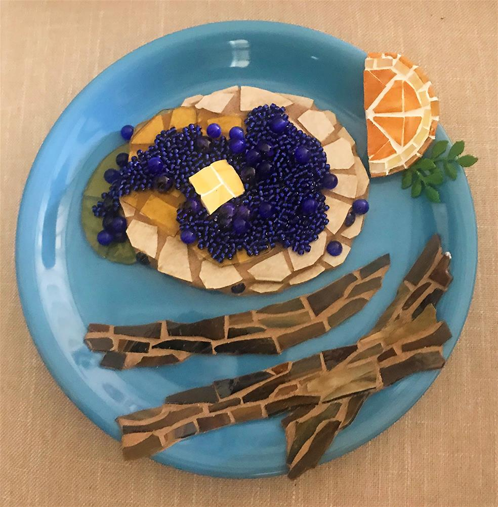 """Blueberry Pancake Mosaic"" original fine art by Joetta Currie"