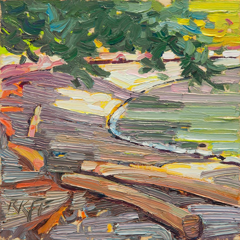 """Arbutus Cove Beach: 6x6 oil on panel"" original fine art by Ken Faulks"