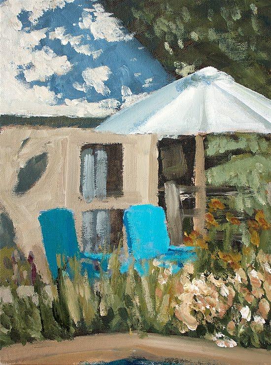 """Blue Chairs"" original fine art by J. Farnsworth"