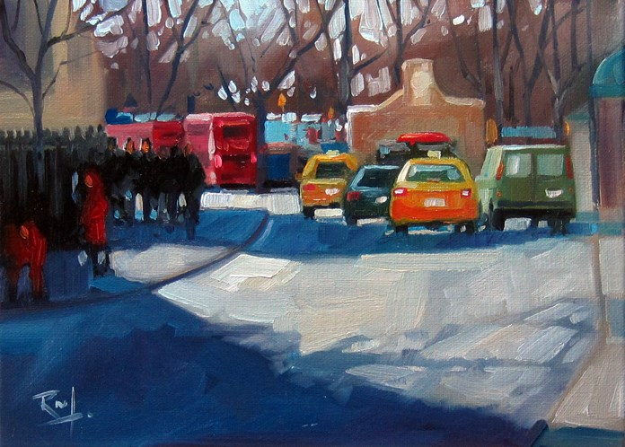"""""""No 762 Broadway and BatteryPlace"""" original fine art by Robin J Mitchell"""