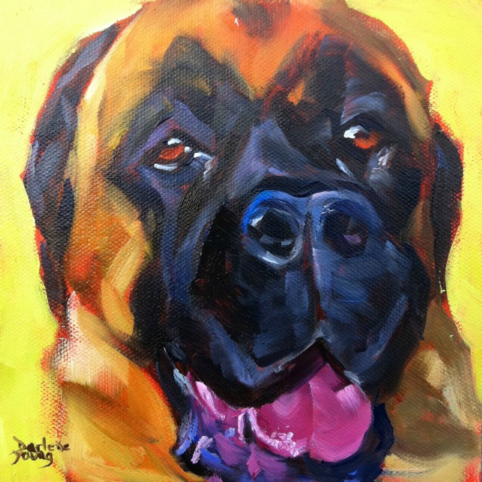 """The Best Dog in the World #6, oil on panel, 6x6"" original fine art by Darlene Young"