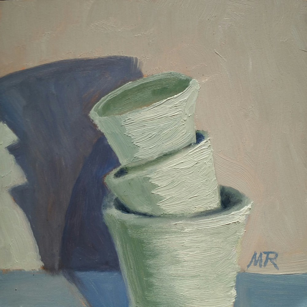 """""""Leaning Tower of Pottery"""" original fine art by Michelle Rideout"""
