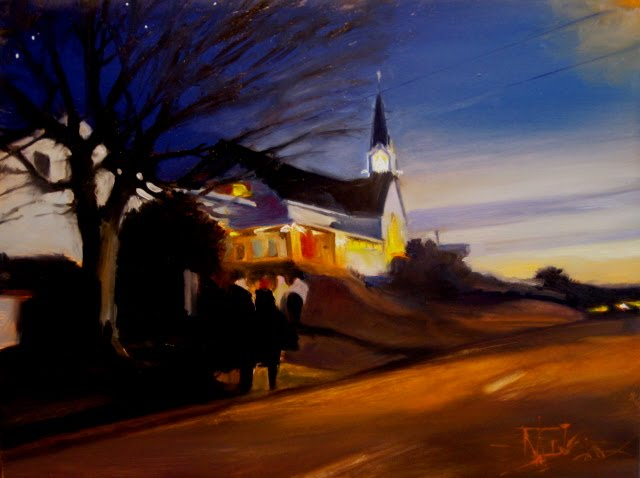 """""""I Will Give You Rest  oil urban landscape, Rest series"""" original fine art by Robin Weiss"""