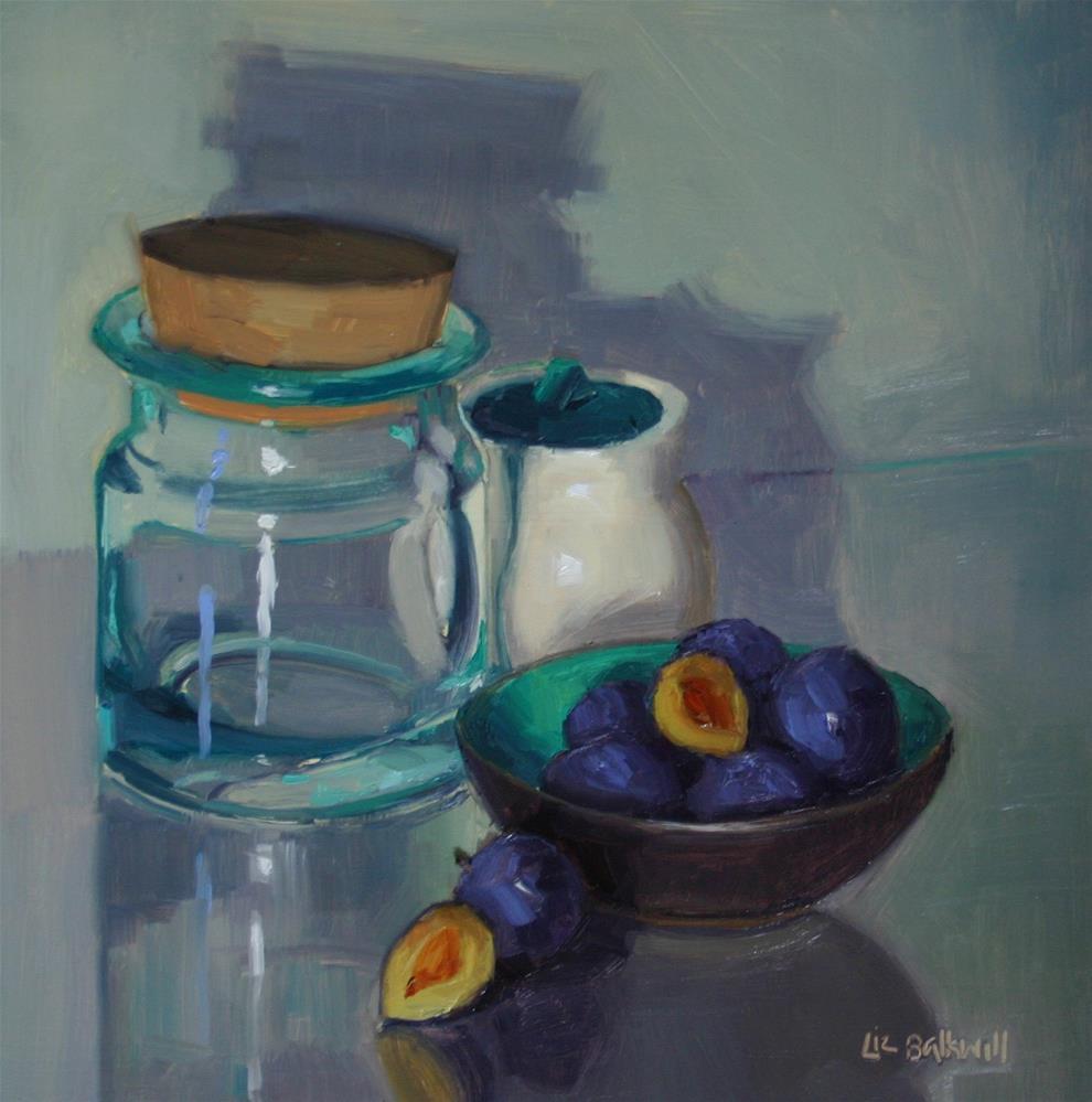 """Dish of Damsons"" original fine art by Liz Balkwill"