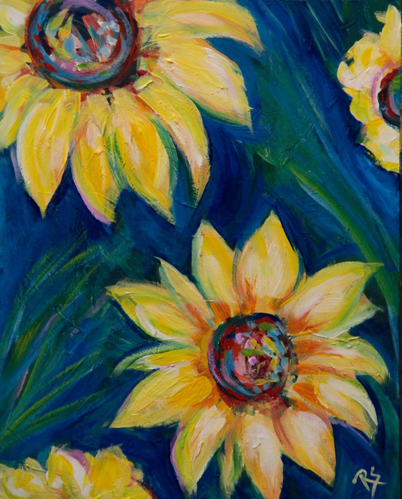 """Sunflowers in September"" original fine art by Roberta Schmidt ArtcyLucy"