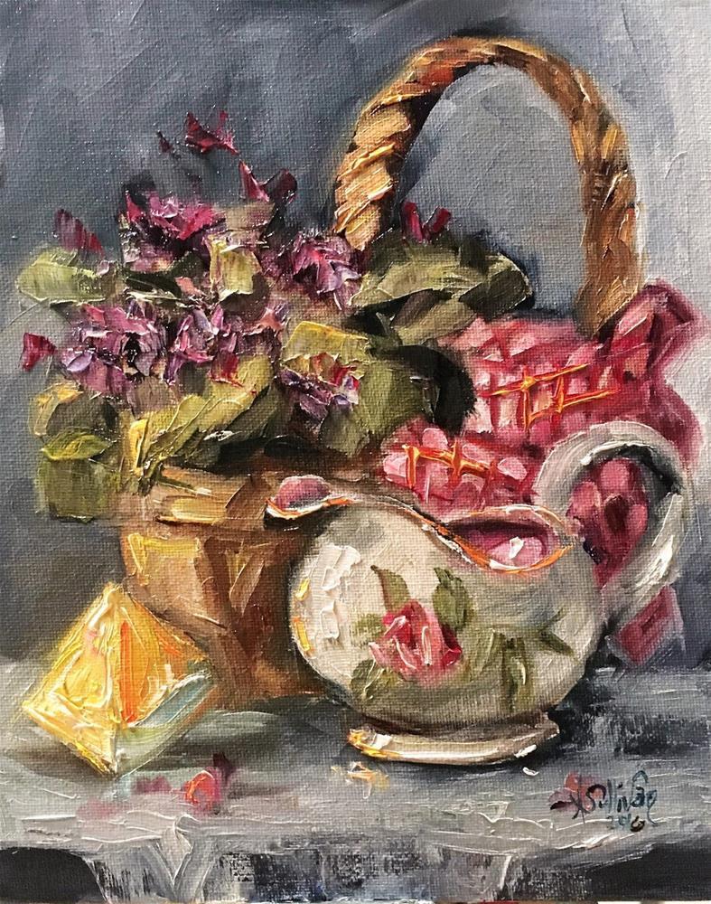 """Violets Among Roses still life painting by Alabama Artist Angela Sullivan"" original fine art by Angela Sullivan"