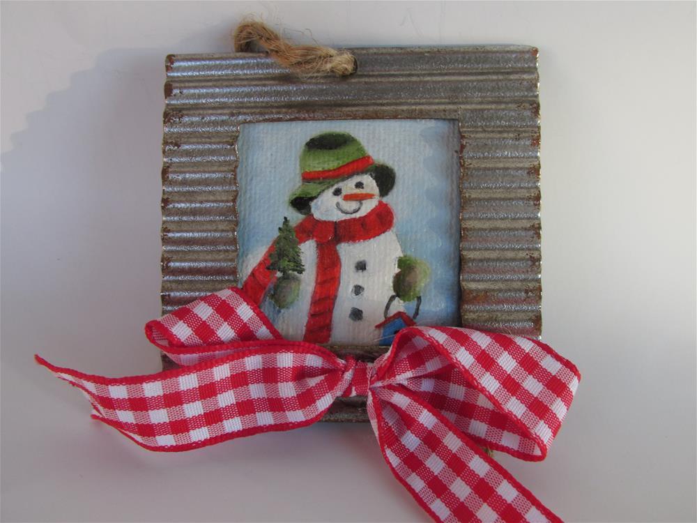 """Frosty the Snowman Ornament"" original fine art by Ruth Stewart"