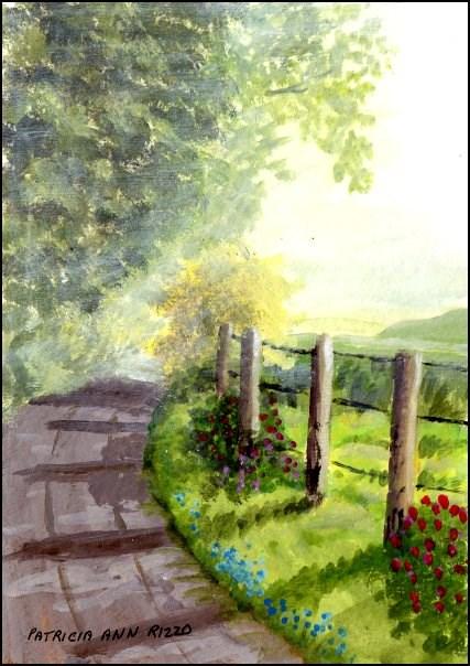 """Misty Summer Morning Walk"" original fine art by Patricia Ann Rizzo"