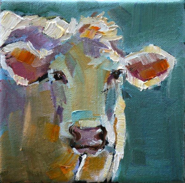 """easter cow"" original fine art by Carol Carmichael"