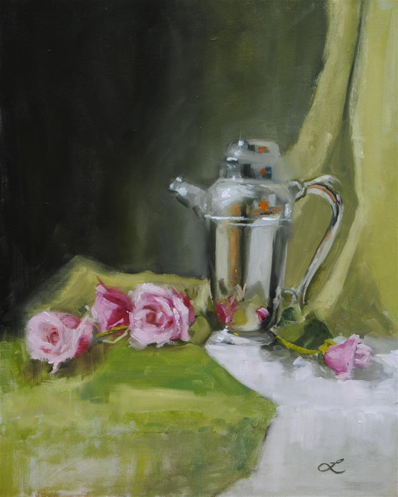 """Coffee and Roses"" original fine art by Lori Jacobs - Farist"