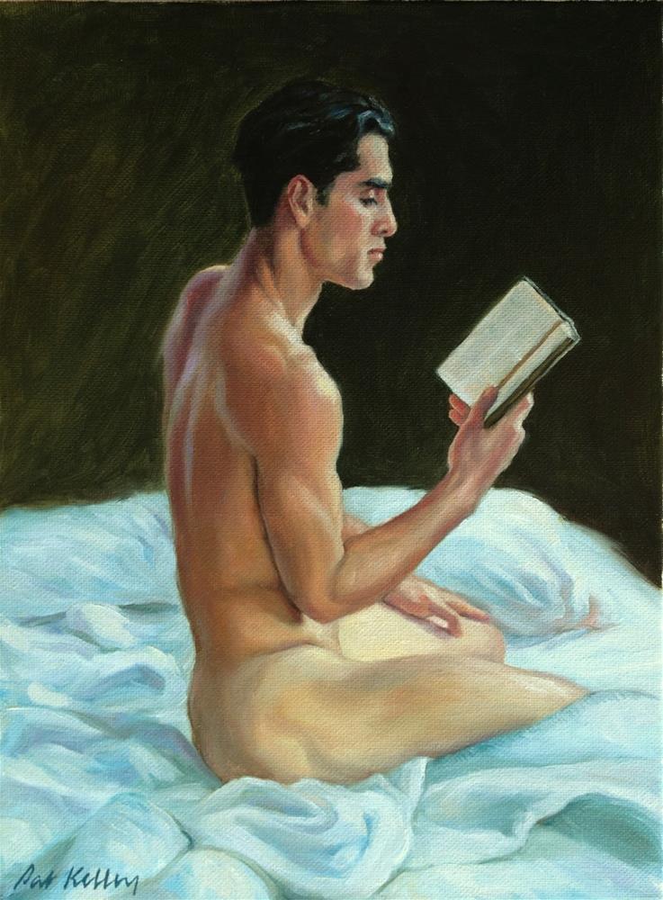 """Cesar Reading in Bed"" original fine art by Pat Kelley"