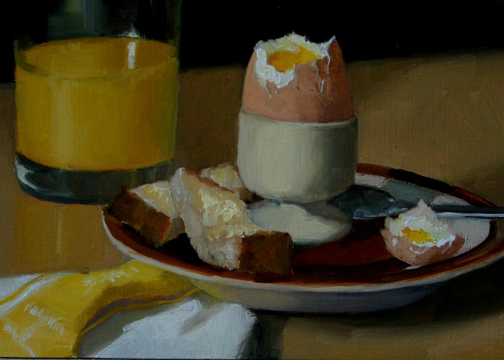 """""""Boiled Egg and Soldiers"""" original fine art by Liz Balkwill"""