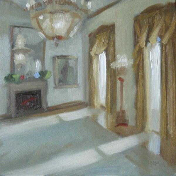 """White House room  6x6  oil"" original fine art by Claudia Hammer"