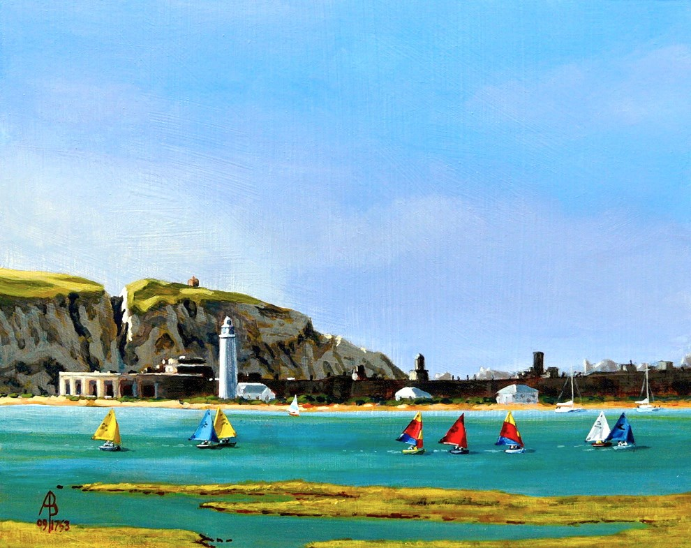 """""""Optimists off Hurst Castle, The Solent, England"""" original fine art by Alix Baker PCAFAS AUA"""