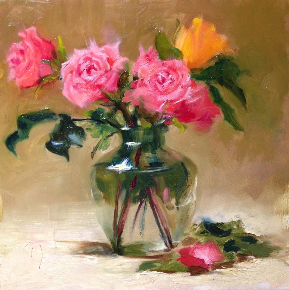 """Roses in a Crystal Vase"" original fine art by Dorothy Woolbright"