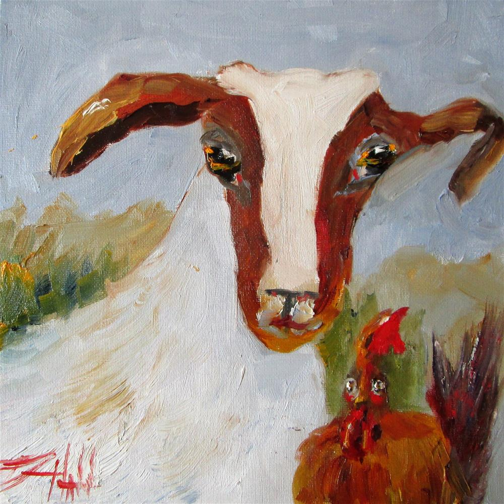 """Goat and Chicken"" original fine art by Delilah Smith"