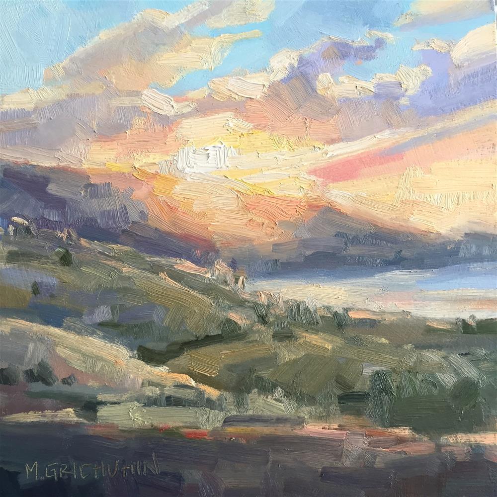 """San Luis Reservoir Sunrise study 1"" original fine art by Meisha Grichuhin"
