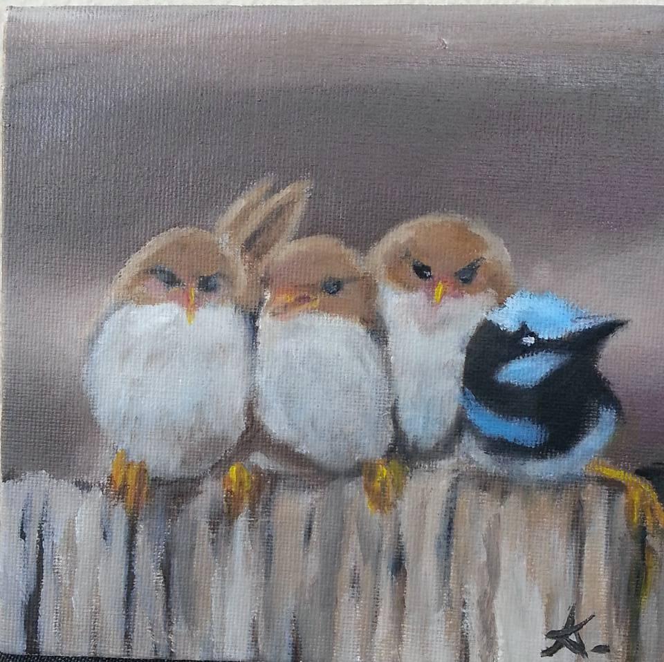 """A company of four 77"" original fine art by Konstantia Karletsa"