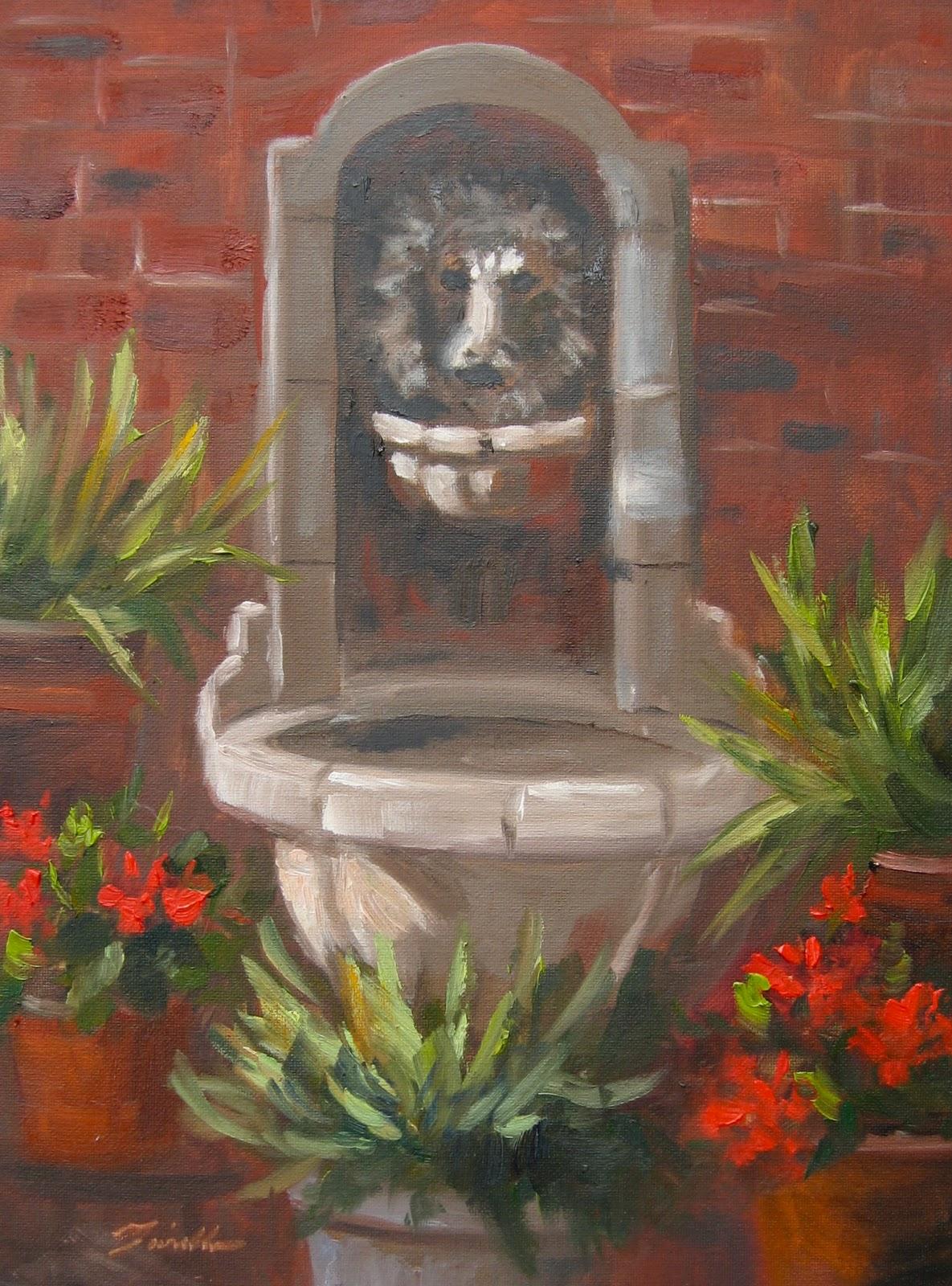 """""""Terry's Fountain"""" original fine art by Pat Fiorello"""