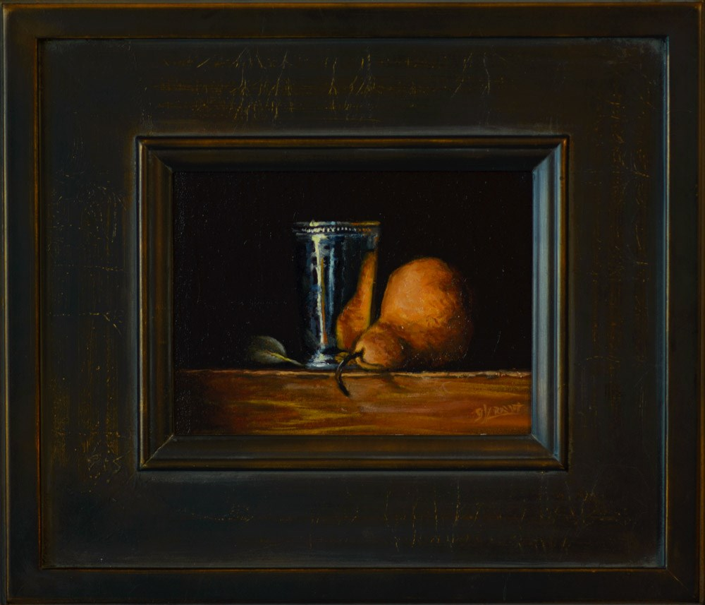 """""""Silver Cup with Pear and Leaf"""" original fine art by Garry Kravit"""