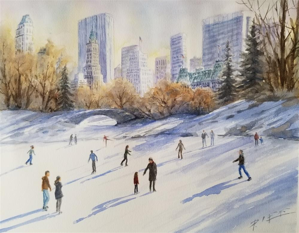 """Central Park Wollman Rink, NYC"" original fine art by Peter Lee"
