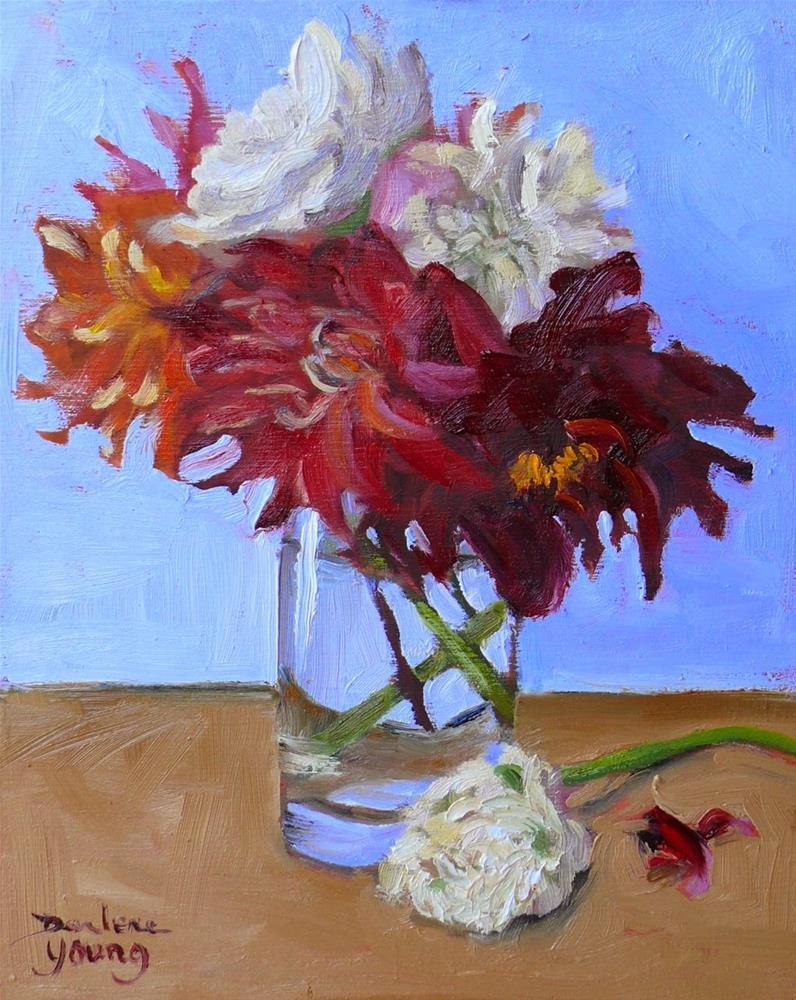 """772 Dahlias in a Glass"" original fine art by Darlene Young"