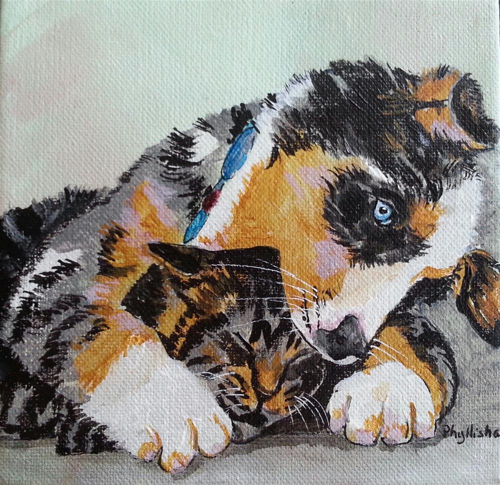 """Funny Chewing on Striker's  Head"" original fine art by Phyllisha Hamrick"