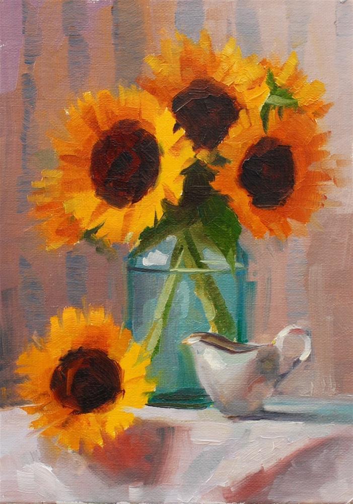 """Farmer's Market Sun Flowers"" original fine art by Susan McManamen"